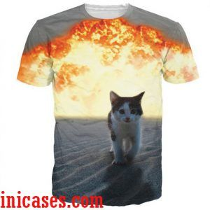 3d cat funny full print graphic shirt two side
