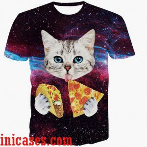 3d cat pizza full print graphic shirt two side