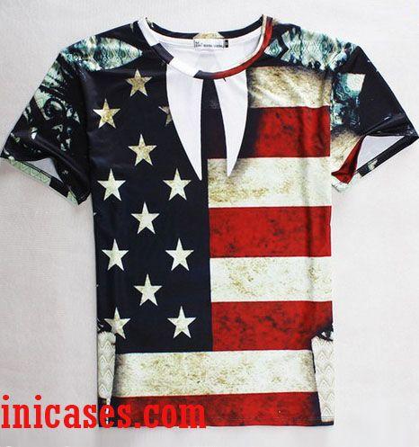 American flag full print shirt two side for American apparel custom t shirt printing