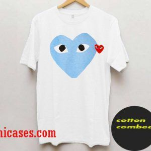 with a blue heart T shirt