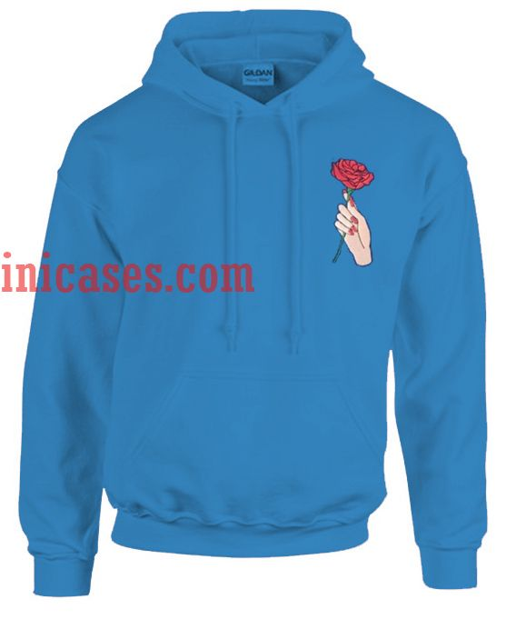 Hand Holding Rose Blue Hoodie pullover