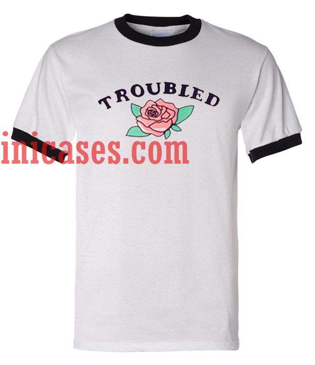 Troubled Rose ringer t shirt