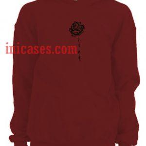 barbed wire rose maroon Hoodie pullover