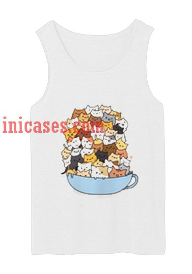 cat in the cup tank top unisex