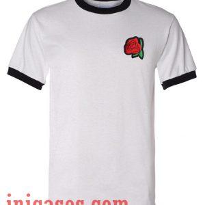 Red Rose ringer t hirt