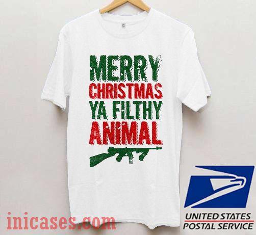 Merry Christmas Ya Filthy Animal Shirt.Merry Christmas Ya Filthy Animal Guns T Shirt