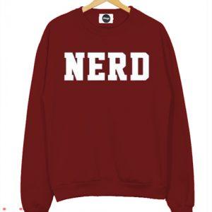 Nerd Maroon Sweatshirt Men And Women