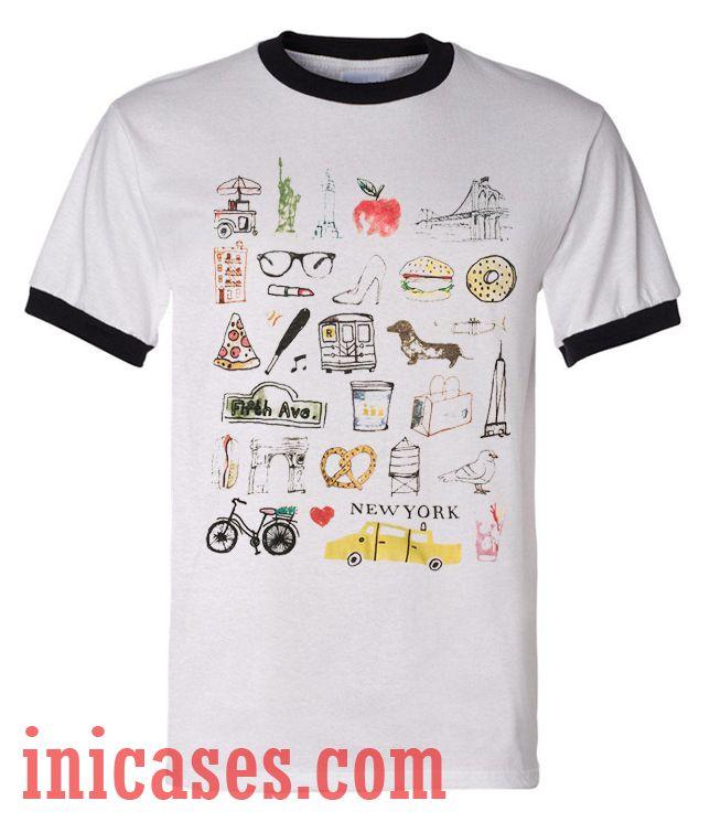 Old New Yorker ringer t shirt