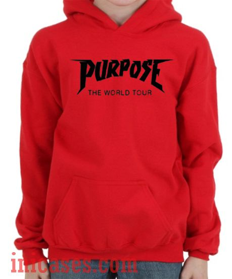 purpose the world tour red hoodie pullover. Black Bedroom Furniture Sets. Home Design Ideas