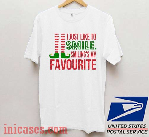 Smiling's My Favourite Christmas T shirt