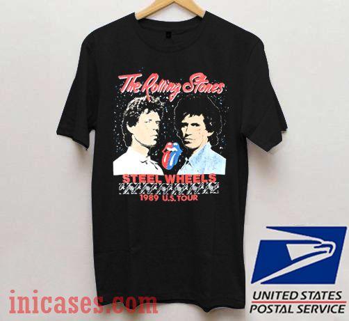 L XL Black T-Shirt The Rolling Stones Steel Wheels S M