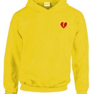 Broken Heart yellow Hoodie pullover