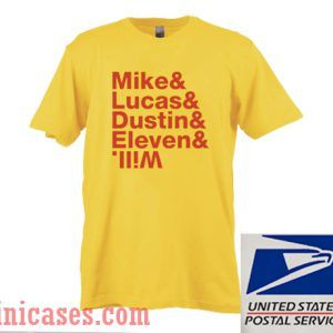 Mike Lucas Dustin Eleven Will Yellow T shirt