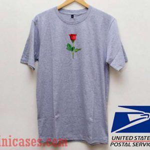 Red Rose Grey T shirt