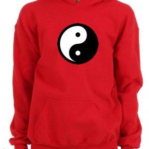 Yin Yang Logo Red Hoodie pullover