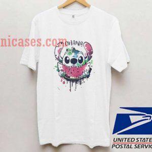 Stitch eat Ohana Watercolormelon T shirt