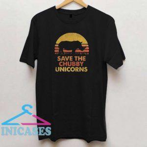 Retro Sunset Rhino save the chubby unicorns T shirt