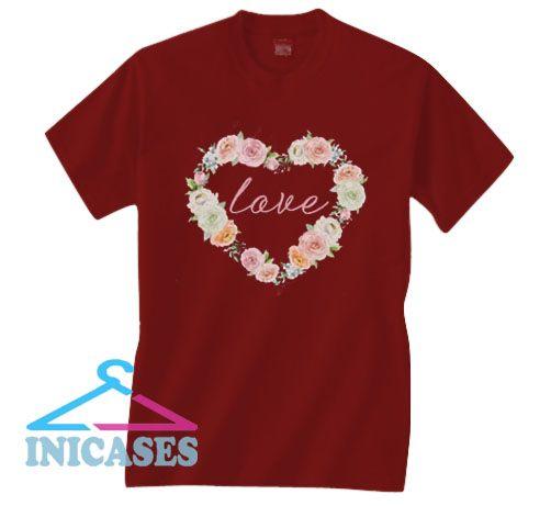 Floral Heart Love Valentine T Shirt
