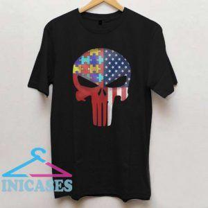 Autism American Skull T Shirt