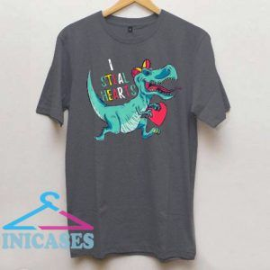 Dinosaur I Steal Hearts Valentines Day T Shirt