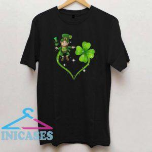 Wine and Leprechaun Heart T shirt