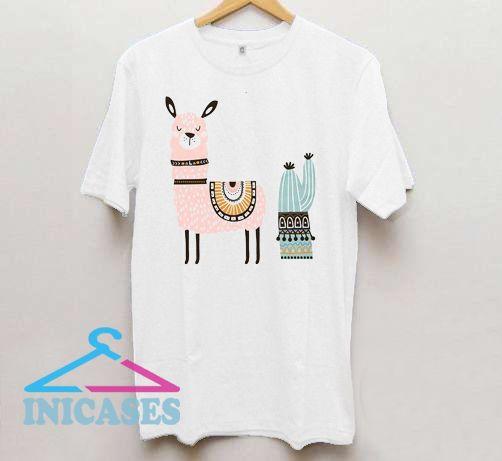 Llama cactus back print T shirt