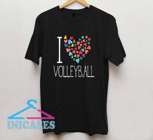 I Love Volleyball Colorful Hearts T Shirt