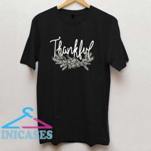 Floral Thankful Thanksgiving T Shirt