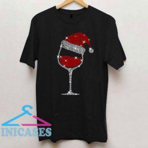 Christmas Wine Glass Red Santa Hat Diamond Glitter T Shirt