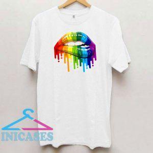 Sexy Rainbow Dripping Lips T Shirt