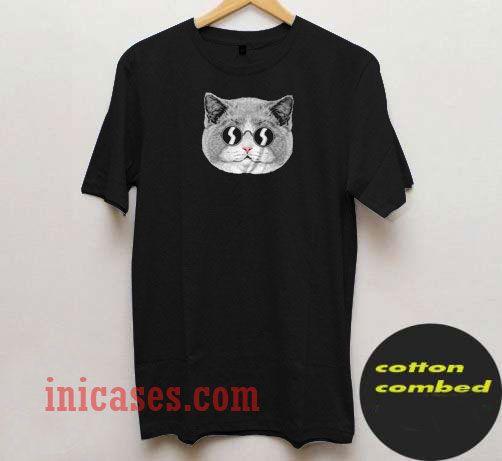 Cat Ilustration Black T Shirt