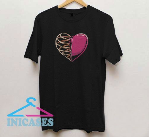 Heart And Skeleton Graphic T Shirt