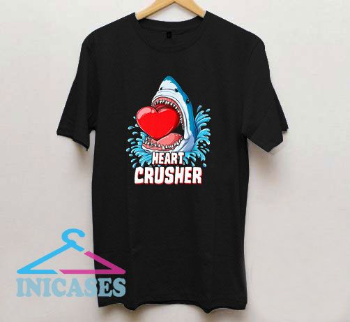 Heart Crusher Valentines Day Shark Boys T Shirt