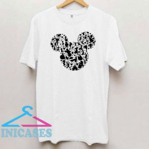 Mickey Mouse Head With Characters T Shirt