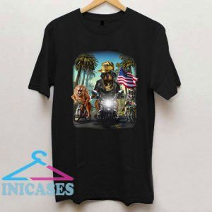 Rottweiler Dog Riding Motorcycle on California T Shirt