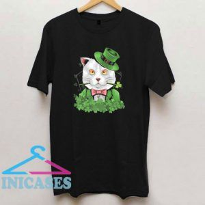 Cat With Green Hat Shamrock Patrick Day T Shirt