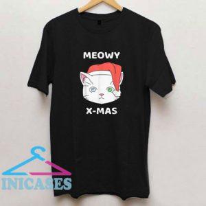 Merry Christmas Meowy Cat Santa Hat Cute Cat T Shirt