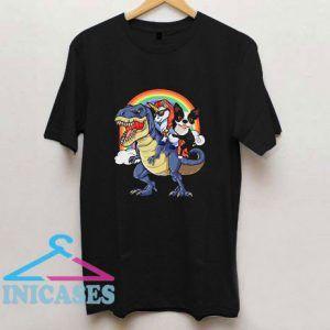 Unicorn And Boston Terrier Riding A Dinosaur T Shirt