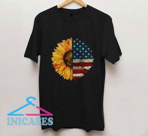 American Flag Sunflower T Shirt