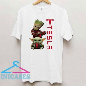 Baby Groot And Baby Yoda Tesla T Shirt