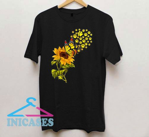 Paw Sunflower And Butterfly T Shirt