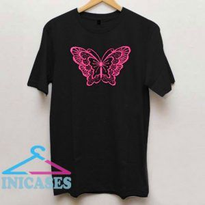 Pink Butterfly Printed T Shirt