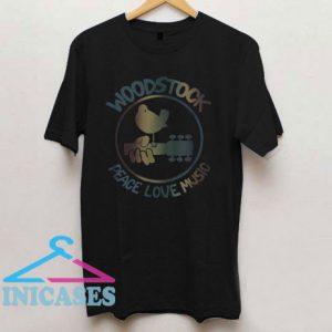 Woodstock Peace Love Music Technicolor Birdie T Shirt