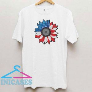 Red White Blue Sunflower Graphic T Shirt