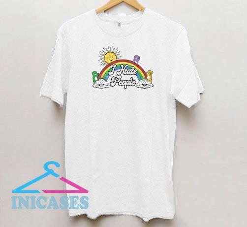 Bear Rainbow I Hate People T Shirt