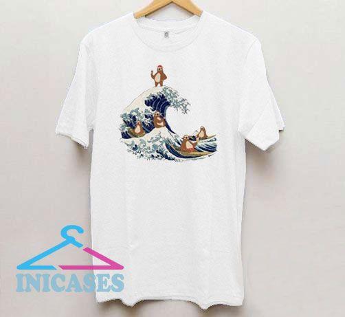 Sloth In Great Wave Off Kanagawa T Shirt