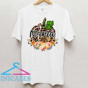 Mama Leopard Pumpkin With Floral T Shirt