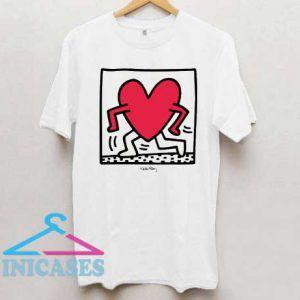 Walking Heart K Haring T Shirt