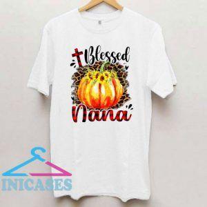 Womens Blessed Nana Pumpkin Leopard Plaid Thanksgiving T Shirt