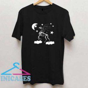 Halloween Moon Stars Unicorn Skeleton T Shirt